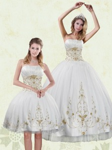 Inexpensive Embroidery White And Gold Quinceanera Dress