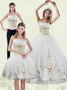 Modest Strapless Embroidery White And Gold Quinceanera Dress