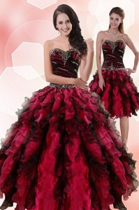 Multi Color Sweetheart Sweet 15 Dress With Ruffles And Beading