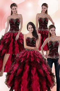 Wonderful Multi Color Dress For Quince With Ruffles And Beading