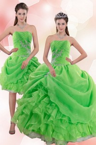 Elegant Pick Ups And Beading Quince Gowns In Spring Green