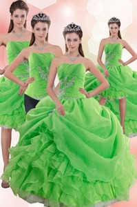 Inexpensive Spring Green Quince Dress With Pick Ups And Beading