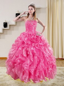 Sophisticated Hot Pink Sweet 16 Dress With Beading And Ruffles