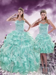Fashionable Beading And Ruffles Aqua Blue Quince Dress