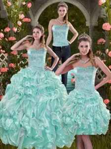 Sophisticated Aqua Blue Quinceanera Dress With Beading And Ruffles