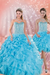 Brand New Baby Blue Quince Dress With Beading And Ruffles