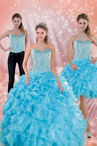 Classical Sweetheart Ruffled Quinceanera Dress In Baby Blue
