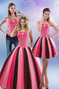 Feminine Beading Quince Dress In Multi Color