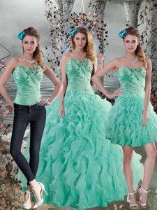 New Style Aqua Blue Quinceanera Dress With Beading And Ruffles
