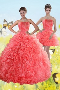 Watermelon Strapless Quince Dress With Beading And Ruffles
