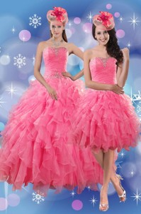 Pretty Rose Pink Quince Dress With Ruffles And Beading