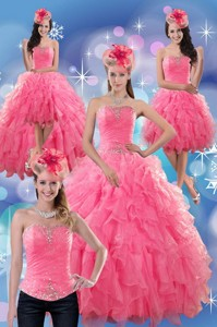 Beautiful Rose Pink Strapless Dress For Quince With Ruffles And Beading