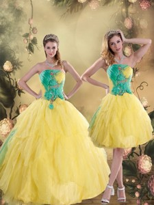 Gorgeous Ruching Quinceanera Dress In Yellow And Green