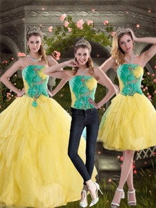 New Style Yellow And Green Quince Dress With Ruching