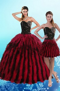 Luxurious Multi Color Sweetheart Quince Dress With Beading And Ruffles