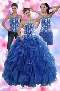 Sophisticated Ruffles And Beading Quince Dress In Royal Blue