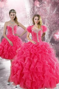 Trendy Hot Pink Quinceanera Dress With Beading And Ruffles