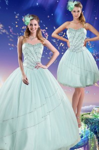 Beautiful Apple Green Strapless Quinceanera Dress With Beading