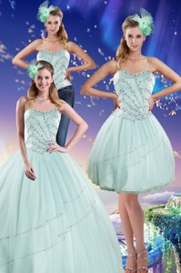 Apple Green Strapless Quinceanera Dress With Beading
