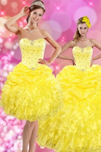 Sweetheart Yellow Sweet 15 Dress With Beading And Ruffles