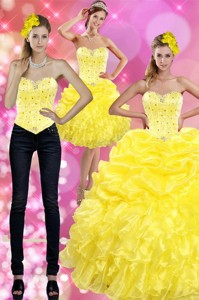 Most Popular Yellow Quince Dress With Beading And Ruffles