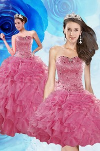Luxurious Coral Red Quince Dress With Beading And Ruffles