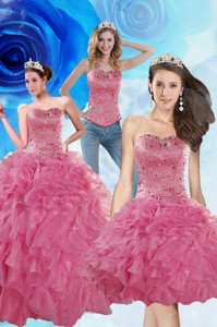 Brand New Coral Red Sweet 16 Dress With Beading And Ruffles