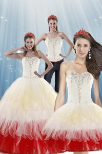 Fashionable Multi Color Quinceanera Dress With Beading