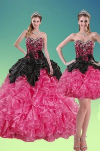 New Style Beading And Ruffles Quince Dress In Multi Color