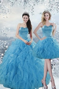 Fashionable Baby Blue Dress For Quince With Beading And Ruffles