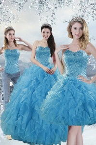 Elegant Baby Blue Quince Dress With Beading And Ruffles