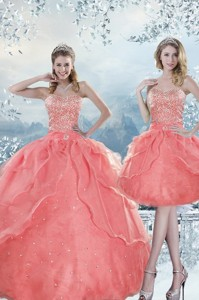 New Style Beading Quinceanera Dress In Watermelon