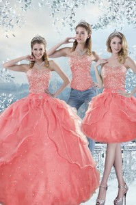 Unique Watermelon Quinceanera Dress With Beading