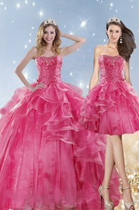 Hot Selling Pink Dress For Quinceanera With Beading And Ruffles