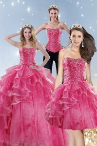 Wonderful Pink Quinceanera Dress With Beading And Ruffles