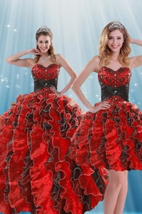 Beautiful Multi Color Beading And Ruffles Quince Dress