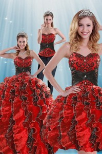 Fashionable Beading And Ruffles Multi-color Dress For Quince