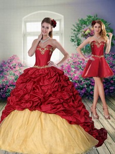 Pretty Sweetheart Wine Red Brush Train Quinceanera Dress With Embroidery And Pick Ups