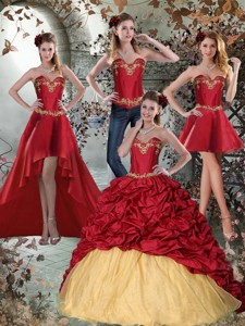 Wine Red Sweetheart Quinceanera Dress With Embroidery And Pick Ups