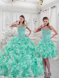 Pretty Sweetheart Quinceanera Dress In Apple Green With Ruffles And Beading