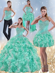 Exclusive Sweetheart Quinceanera Dress In Apple Green With Ruffles And Beading