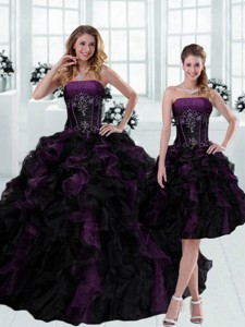 Gorgeous Strapless Multi Color Ruffled Quinceanera Dress With Beading