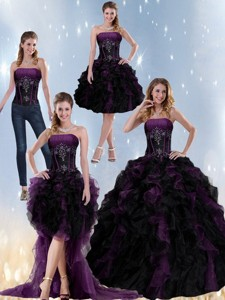 Exclusive Multi Color Strapless Quinceanera Dress With Beading And Ruffles