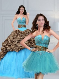 Leopard Printed Baby Blue Brush Train Beading Quinceanera Dress