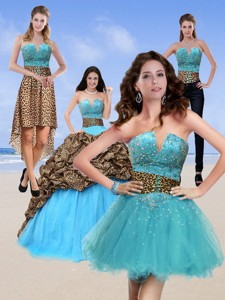 Unique Leopard Print Baby Blue Quinceanera Dress With Brush Train And Beading