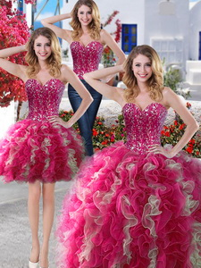 Visible Boning Beaded Bodice And Ruffled Detachable Quinceanera Dress In Hot Pink And Champagne