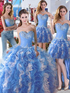 Comfortable Applique And Ruffled Detachable Quinceanera Dress In Blue And White