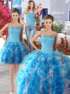 Exquisite Baby Blue And White Detachable Sweet 16 Dress With Beading And Ruffles