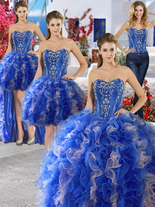 Unique Royal Blue And Champagne Organza Detachable Quinceanera Dress With Appliques And Ruffles