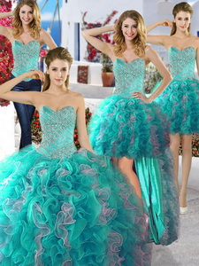Discount Organza Detachable Quinceanera Dress With Beading And Ruffles